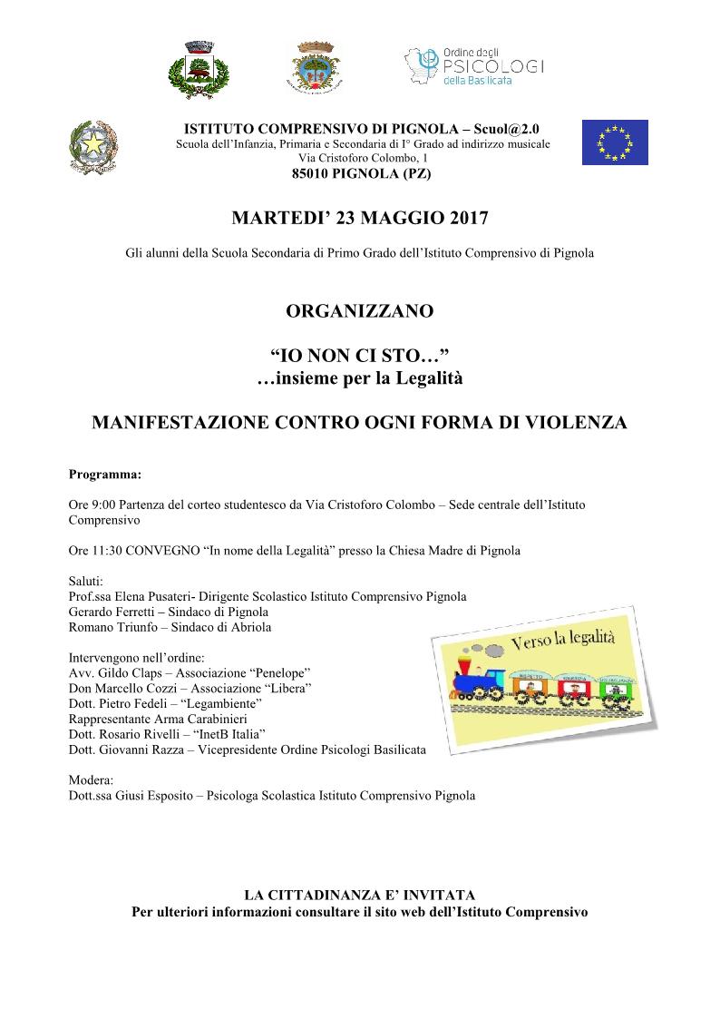 MANIFESTAZIONE CONTRO OGNI FORMA DI VIOLENZA PIGNOLA